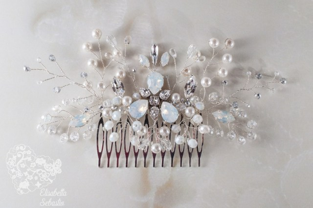 eloïse - bridal hair comb with swarovski crystals