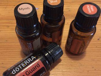 doTerra essential oils: Clove, Frankincense, Myrrh, On Guard