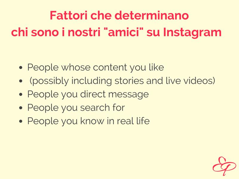 Algoritmo di Instagram fattori che determinano gli amici