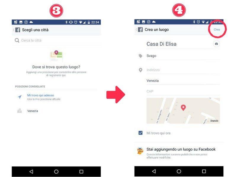 Creare nuovo luogo facebook step 3 e 4
