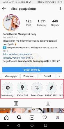 contenuti in evidenza su instagram