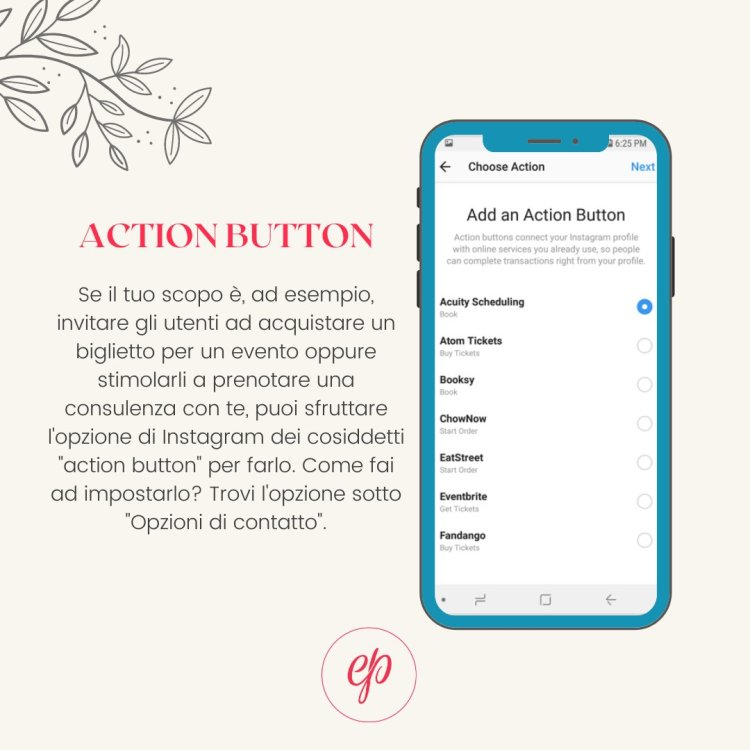 Link instagram: gli action button
