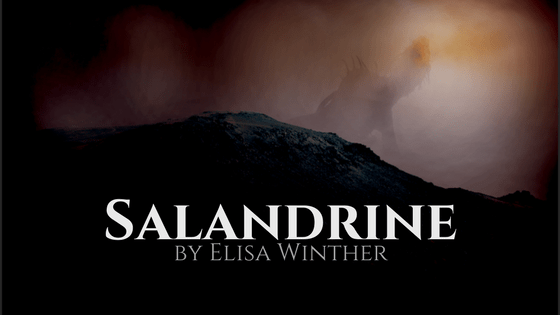 Picture of the dragon god from Elisa Winther's book Salandrine on top of a mountain.