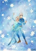 Jack Frost och Elsa (Rise of the Guardians/Frozen, Dreamworks/Disney) Färglagd med Copics Digital.