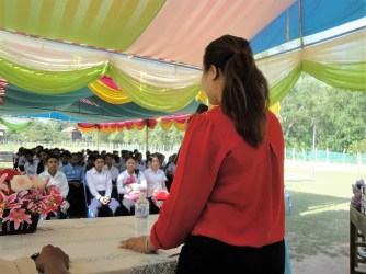 My supervisor, Veasna, speaking at a community event