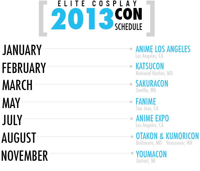 Elite Cosplay Schedule