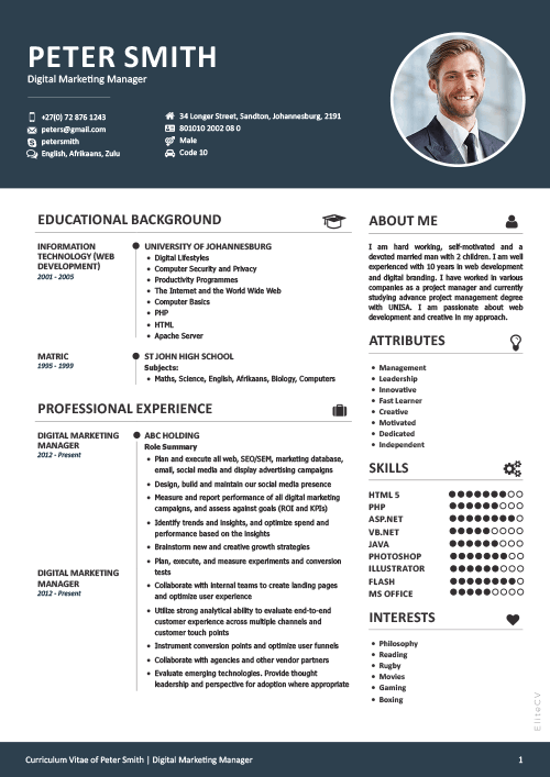Professional And Beautiful Cv Design Elite