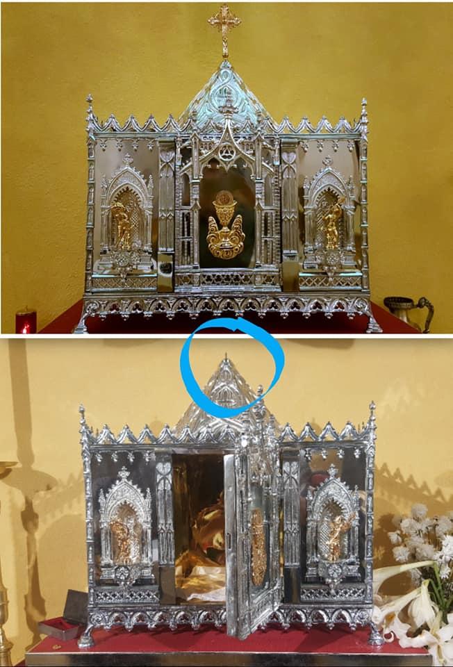 Denuncian el robo de corona y enseres de una virgen en una iglesia