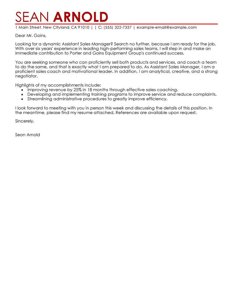 Amazing Sales Cover Letter Examples Amp Templates From Our Writing Service