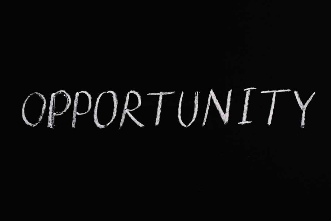 opportunity lettering text on black background