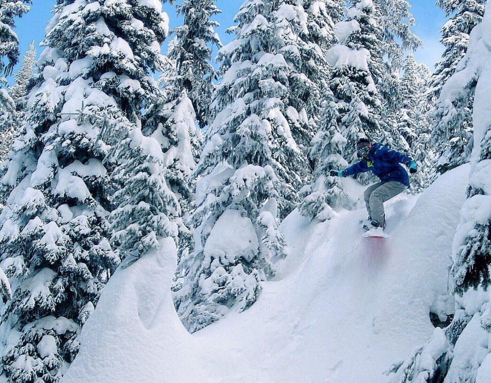 Snowboarding Banff Lake Louise Sunshine