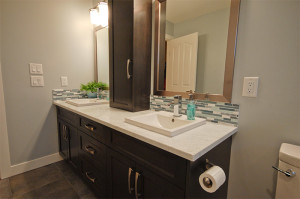 Granite Bathroom Countertop with Square Sinks
