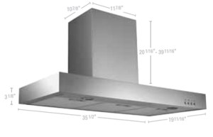 Rectangular wall-mounted hood 36""