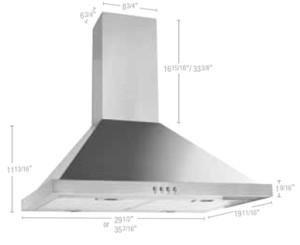 "52030170 Pyramidal wall-mounted hood 30"""