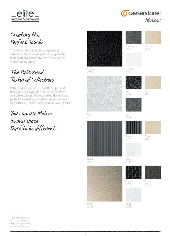 Motive Collection of Textured Surfaces at Elite Kitchens and Bathrooms