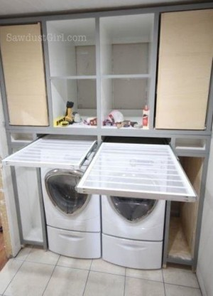 Pull-Out Drying Shelves, Custom Laundry Room