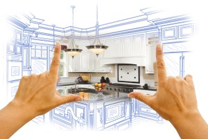 blue print with hands kitchen renovation