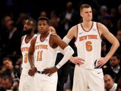 Tim Hardaway Jr., Frank Ntilikina, Kristaps Porzingis, New York Knicks