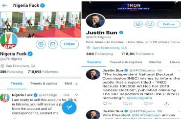 Justin Sun APC Twitter Hacked