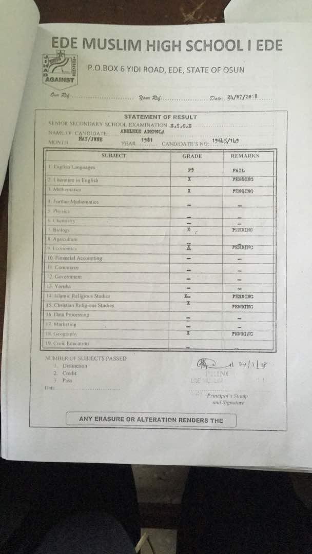 Adelek Certificate