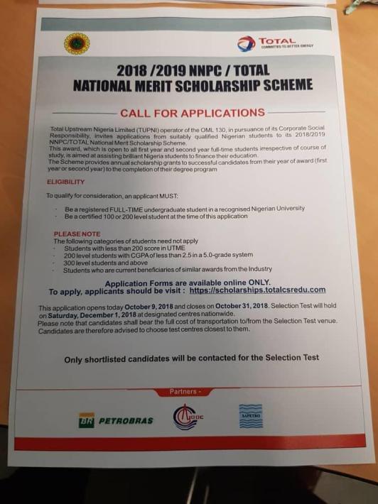 2018/2019 TOTAL Scholarship National Merit Scheme