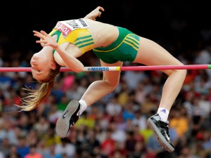 Australia's Eleanor Patterson competes in the women's high jump final at the World Athletics Championships at the Bird's Nest stadium in Beijing, Saturday, Aug. 29, 2015. (AP Photo/Andy Wong)