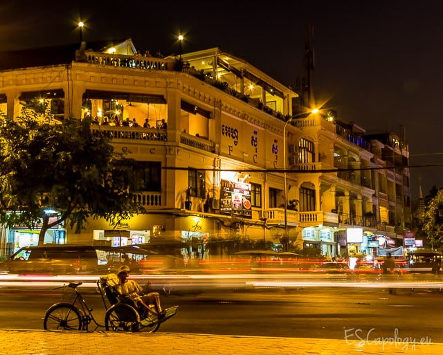 Stranded. Night scene in Phnom Penh