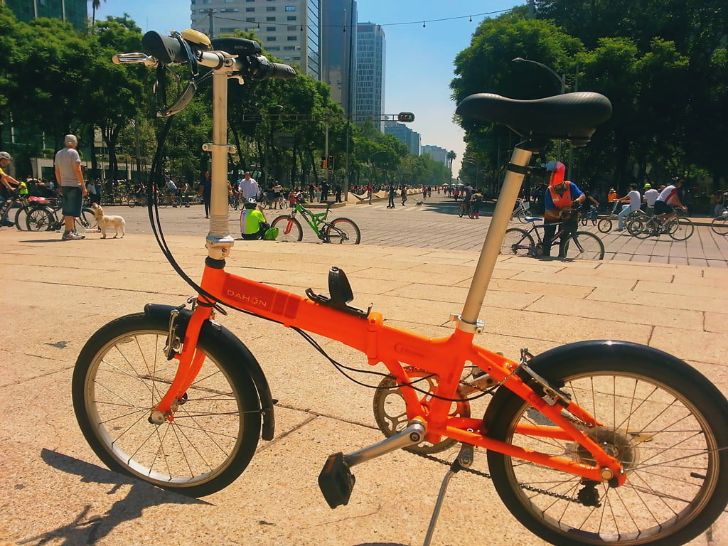 Biking in Reforma Avenue in Mexico City