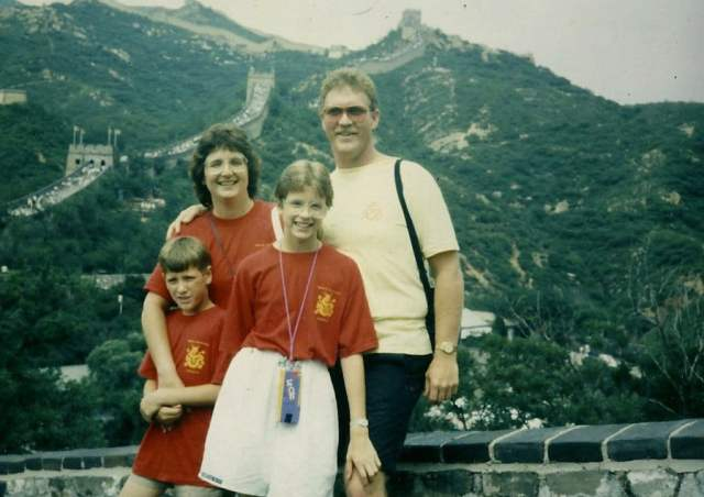 with my family on the Great Wall of China in 1988