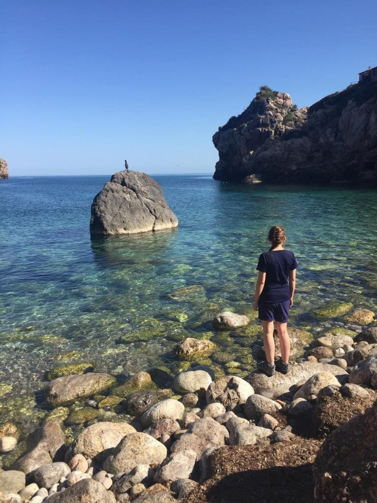 Lorna at the Bay of Deia on a walking holiday