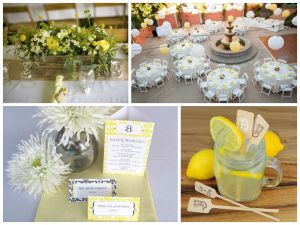 yellow and gray wedding decor