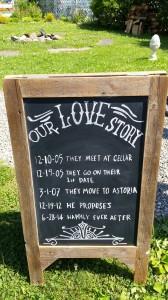 Jen and Chris Love Story Chalkboard Kaaterskill Wedding