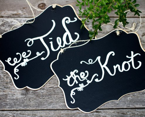 tied the knot chalkboard