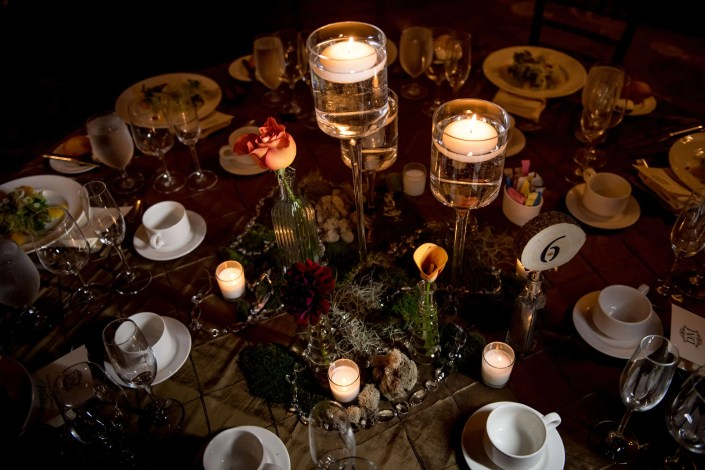 candle centerpiece - fall wedding- diamond mills