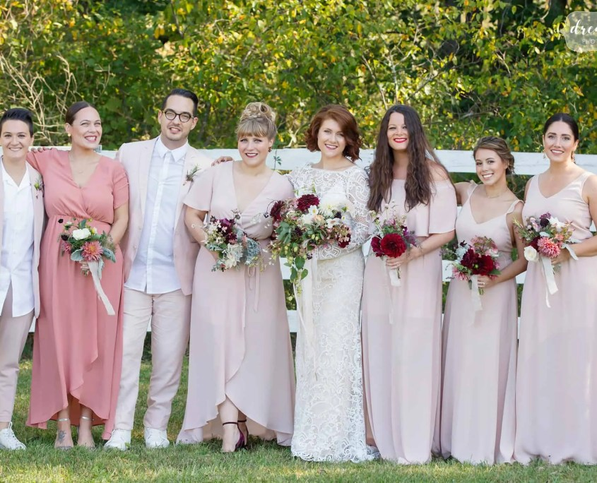 bridal party - wedding at barn at liberty farms