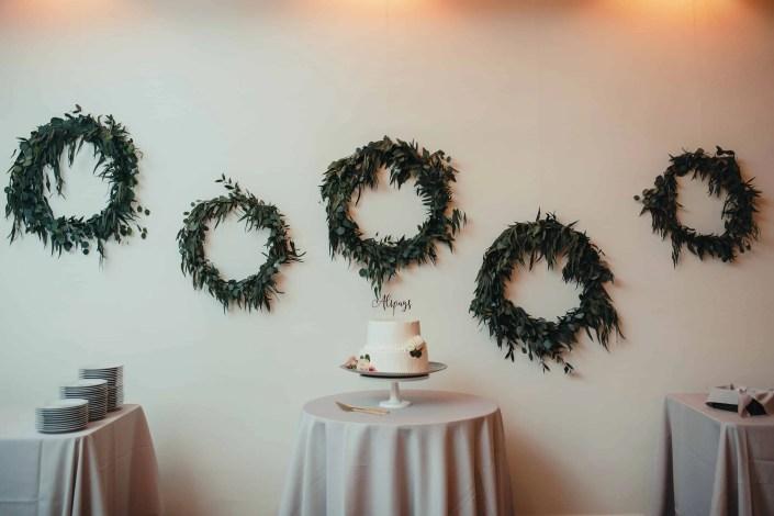 romantic greenery wreaths wedding Senate Garage