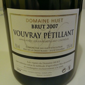 Huet Vouvray Petillant 2007 back label