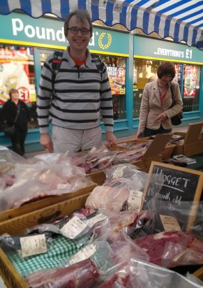 Davy admiring the meaty delights