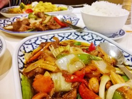 A duck, cashew nut and vegetable stir fry