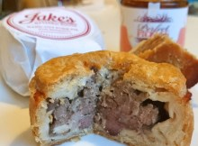 A Jake's pork pie displaying it's meat