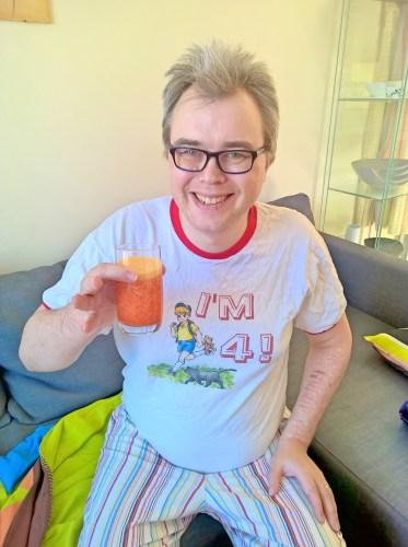 Davy drinking mock poncha