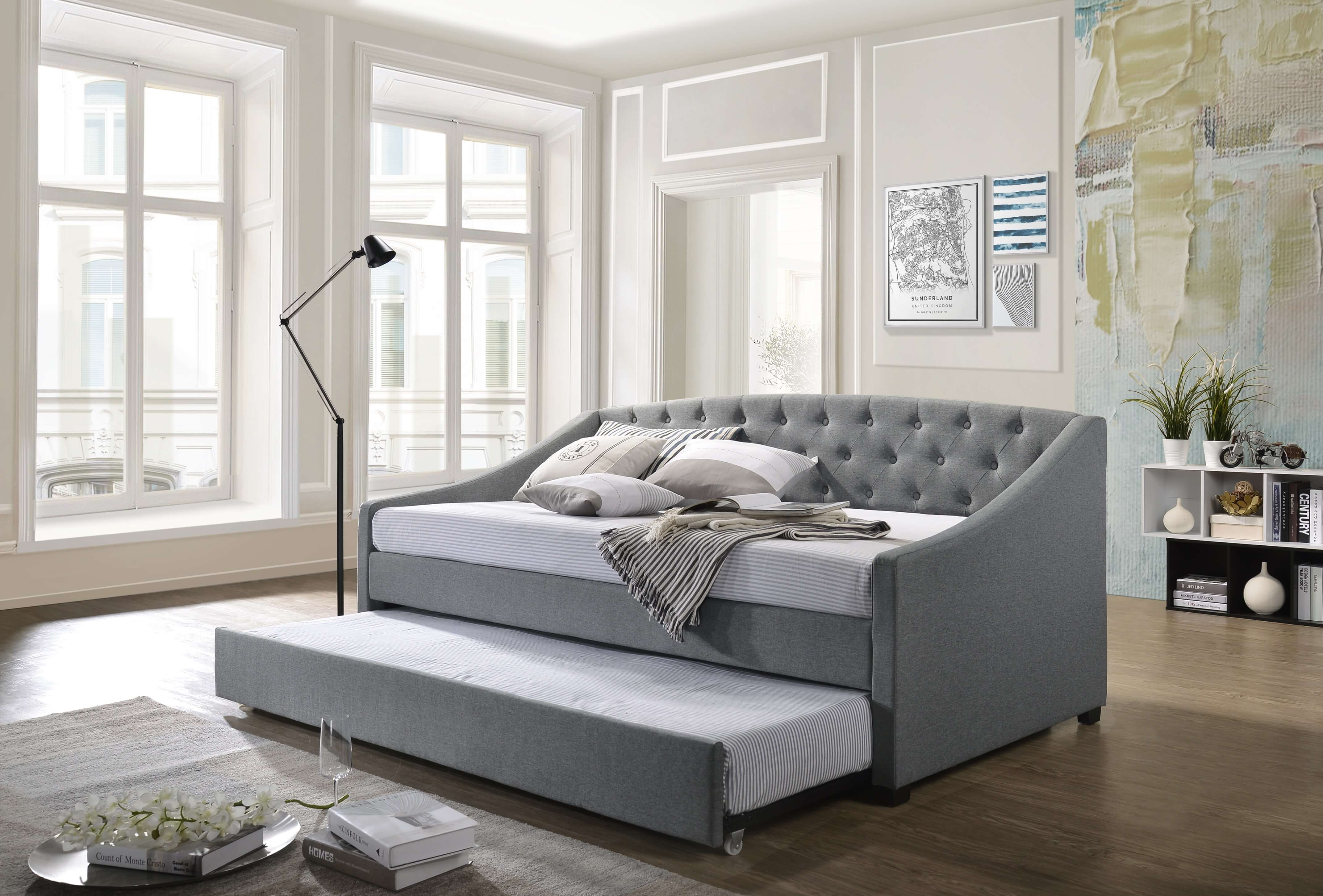 Olsen Daybed With Trundle Bed Frame Fabric Upholstery Sofa Single Size Mattress 747501892153 Ebay