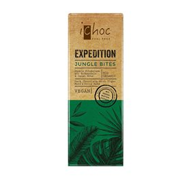 Ichoc Jungle Bites er vegansk, mørk chokolade med tigernød. Se Elixiras udvalg af veganske og økologiske produkter.