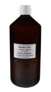 Sød mandelolie 1100 ml er en mild og lækker olie. Kan bruges topisk eller som baseolie til din egen fremstilling af hudpleje.