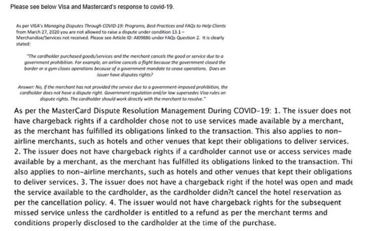 Visa and Mastercard Covid policy