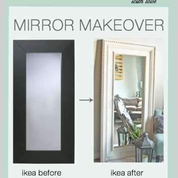 diy molding on a modern ikea mirror