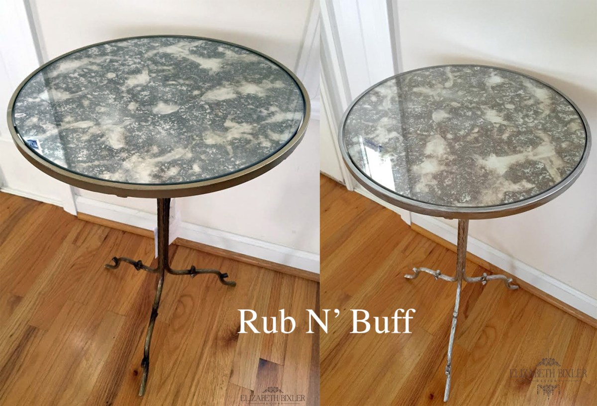 how to paint or repurpose a metal table with rub n'buff