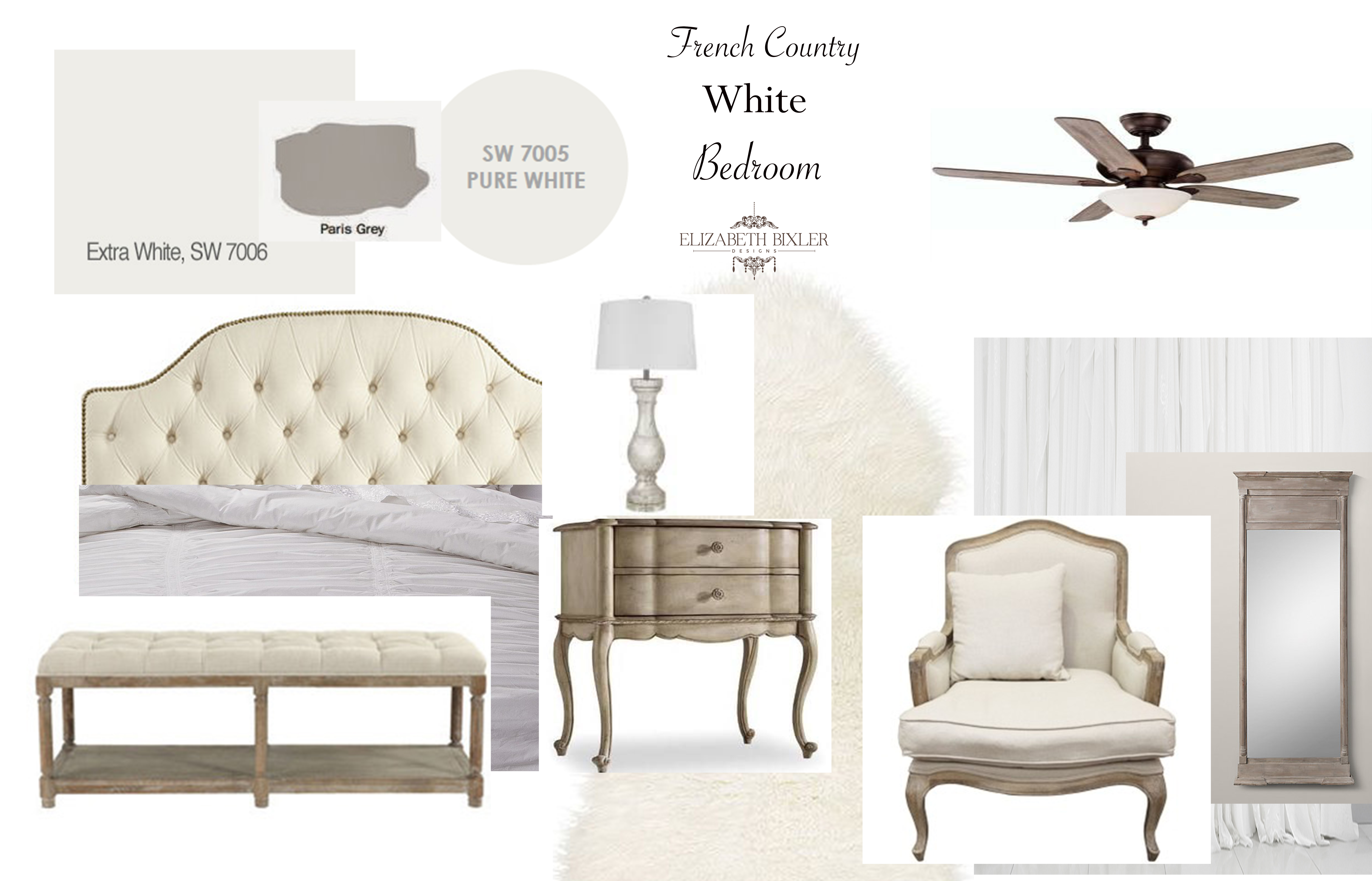 French country bedroom white - I Was Feeling Pretty French Country Today So Here Is My French Country Inspired White Bedroom Mood Board