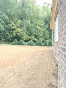 beginning and leveling for landscape in backyard