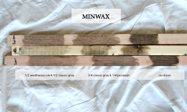 MINWAX WEAthered Oak , Classic Gray, And Jacobean On Cedar, White Pine, And